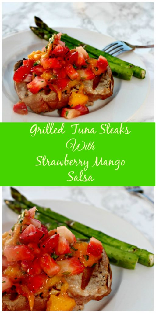 Grilled Tuna Steaks with Strawberry Mango Salsa #SundaySupper Healthy grilling with fresh fruit salsa