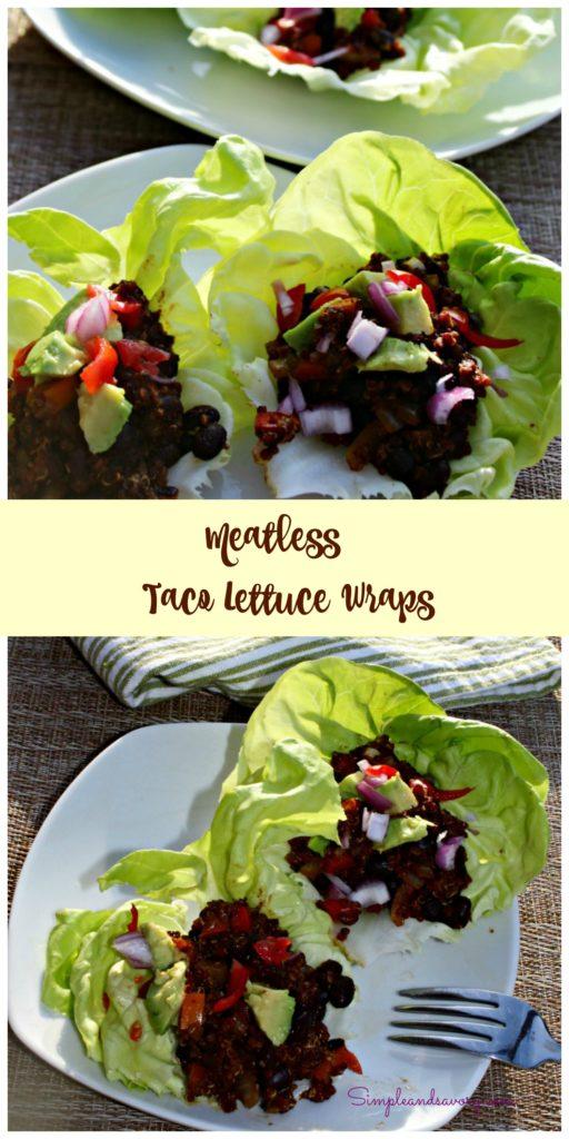 Meatless Tacos in lettuce wraps Simpleandsavory.com