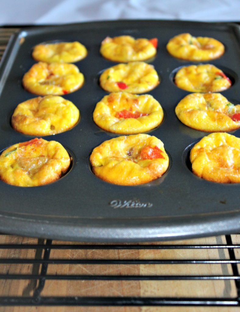 Mini Veggie Frittata recipe made with peppers onions is healthy Simple and Savory