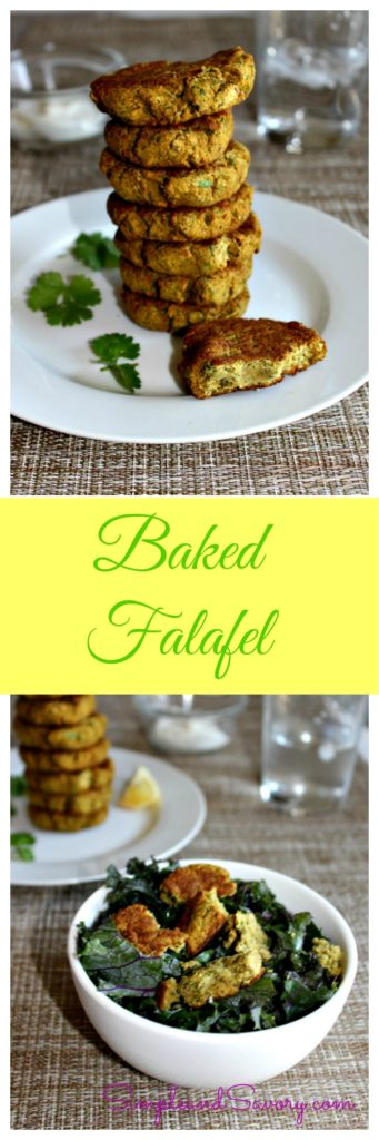 Baked Falafel Recipe made with chickpeas, cilantro. Gluten Free and Vegan SimpleandSavory.com