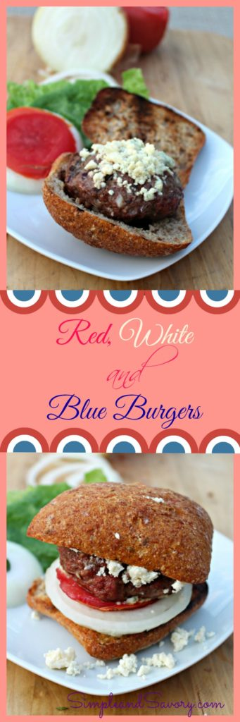 Red white and blue burgers made with grass fed beef, shredded onions and topped with tomatoes and bleu cheese