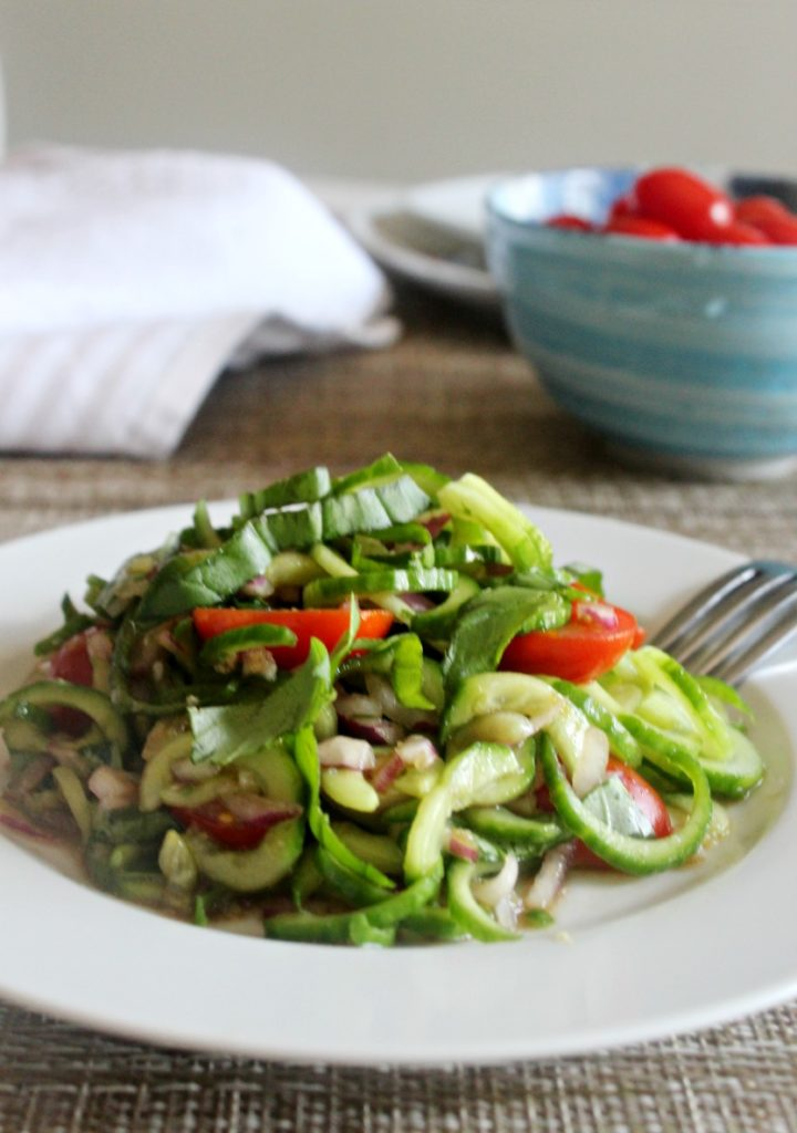Spiralized cucumber tomato salad with basil and balsamic vinegar Simple and savory.com