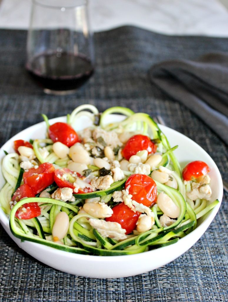Zucchini Noodles with White Beans and chicken Simple and savory.com