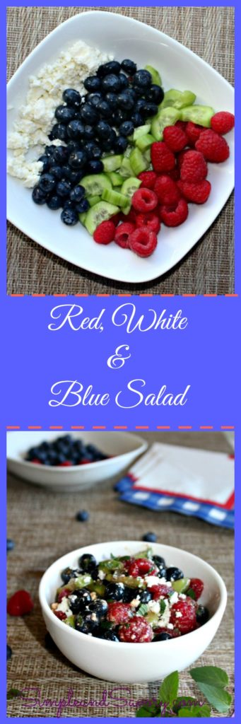 Red White and Blue Salad Made with Blueberries, Raspberries, cucumbers and feta cheese. SimpleandSavory.com #SundaySupper
