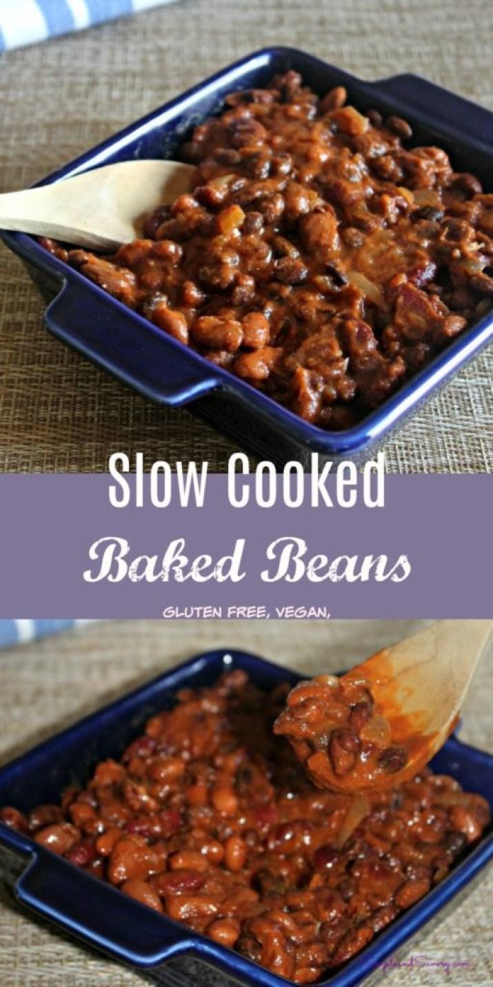Slow Cooked Baked Beans Gluten Free, Vegan Simpleandsavory.com