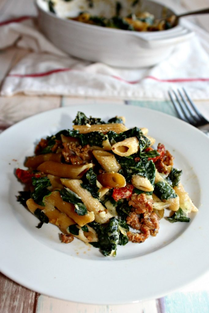 Baked Pasta with Kale and Sausage #SundaySupper