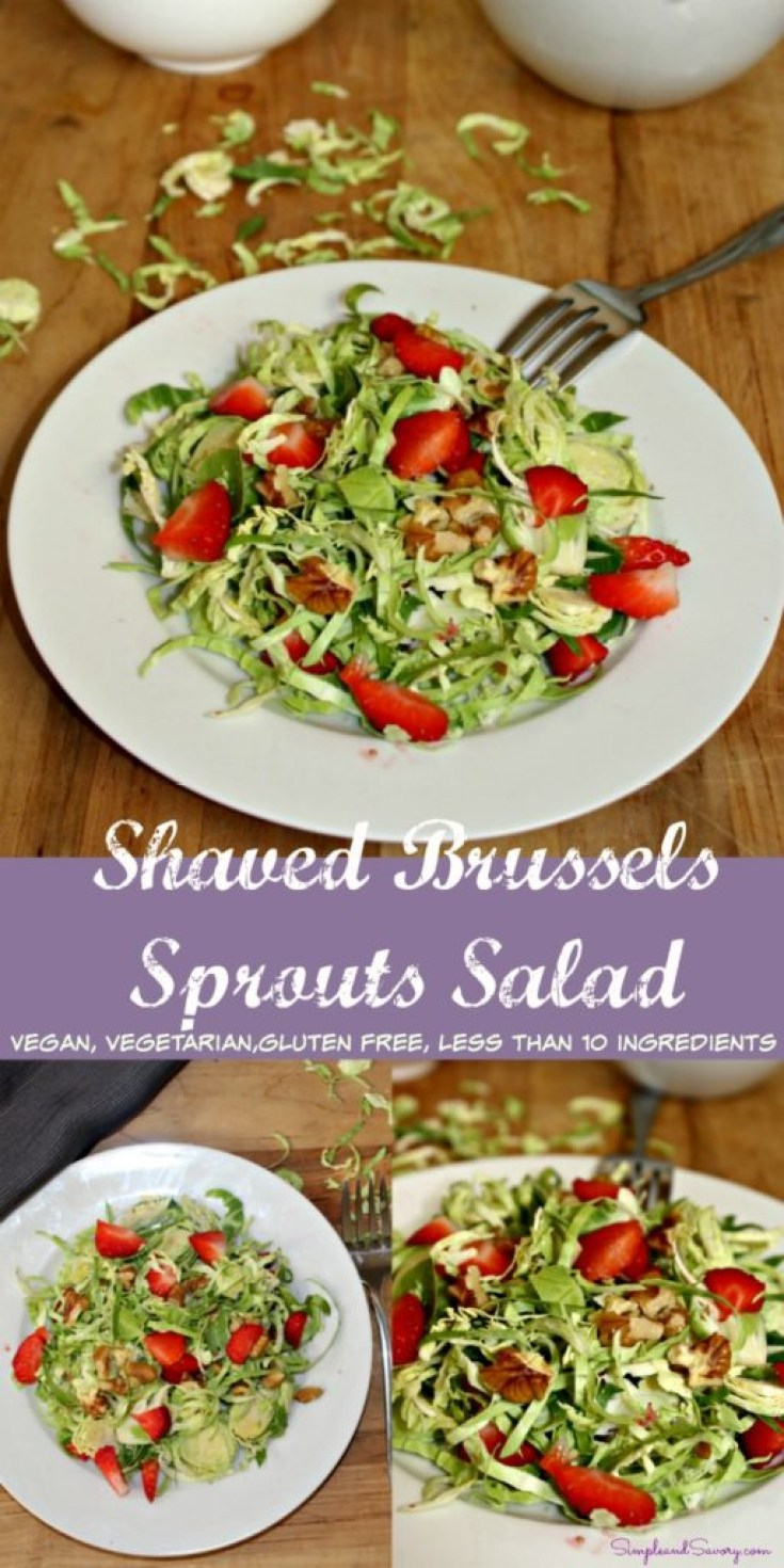 shaved brussels sprouts salad with strawberries vegetarian, vegan, gluten free