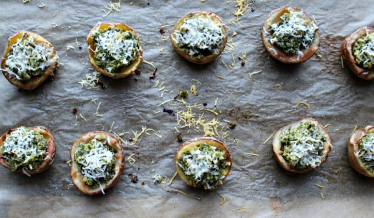 broccoli pesto stuffed potatoes