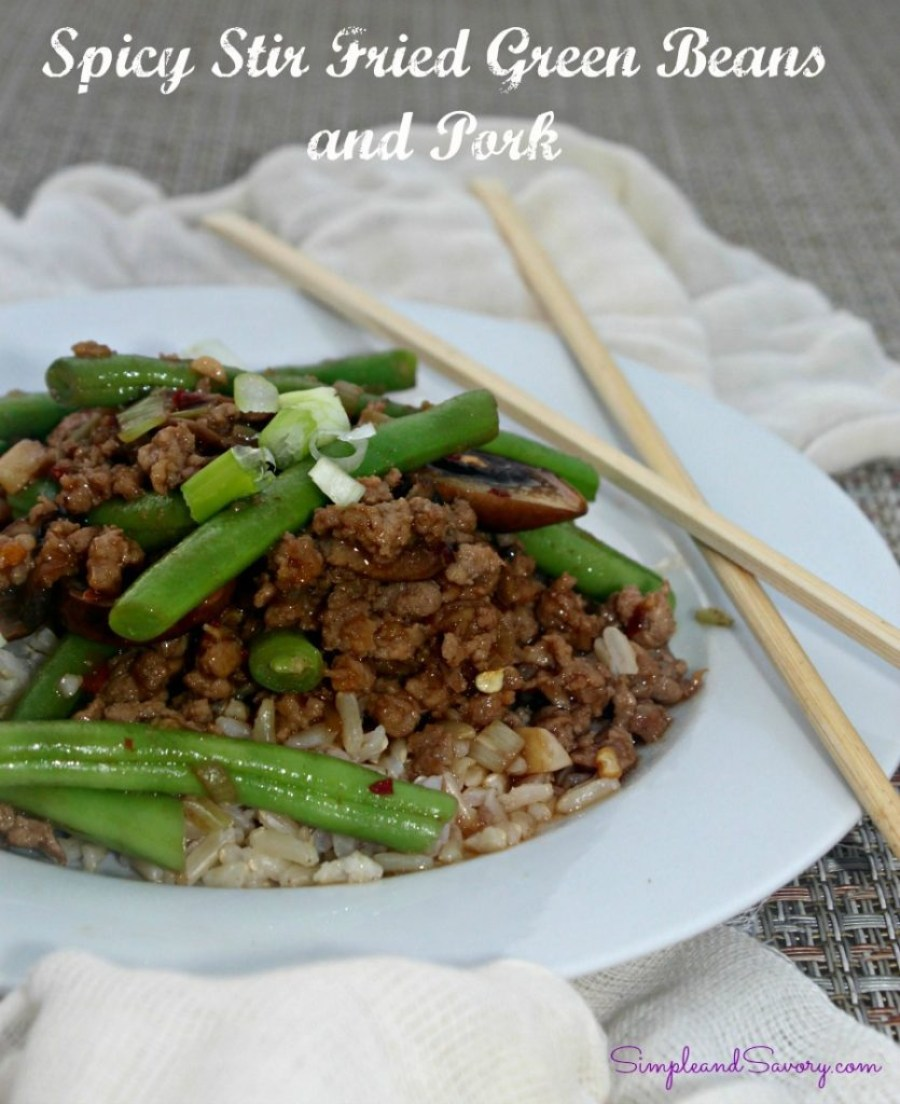 Spicy Green Beans and Ground Pork recipe gluten free, 10 ingredients Simple and Savory.com