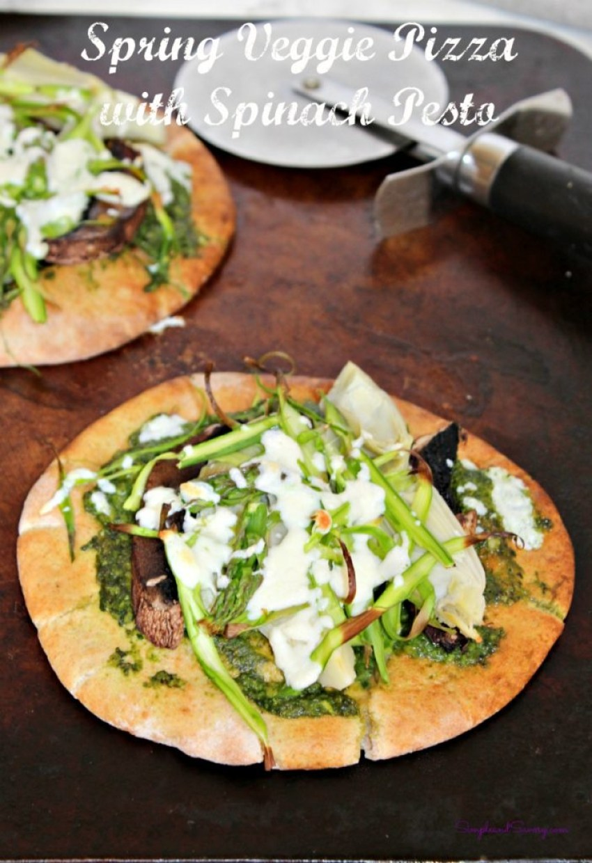 spring veggie pizza made with spinach pesto simpleandsavory.com