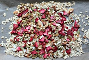 strawberry granola in a pan