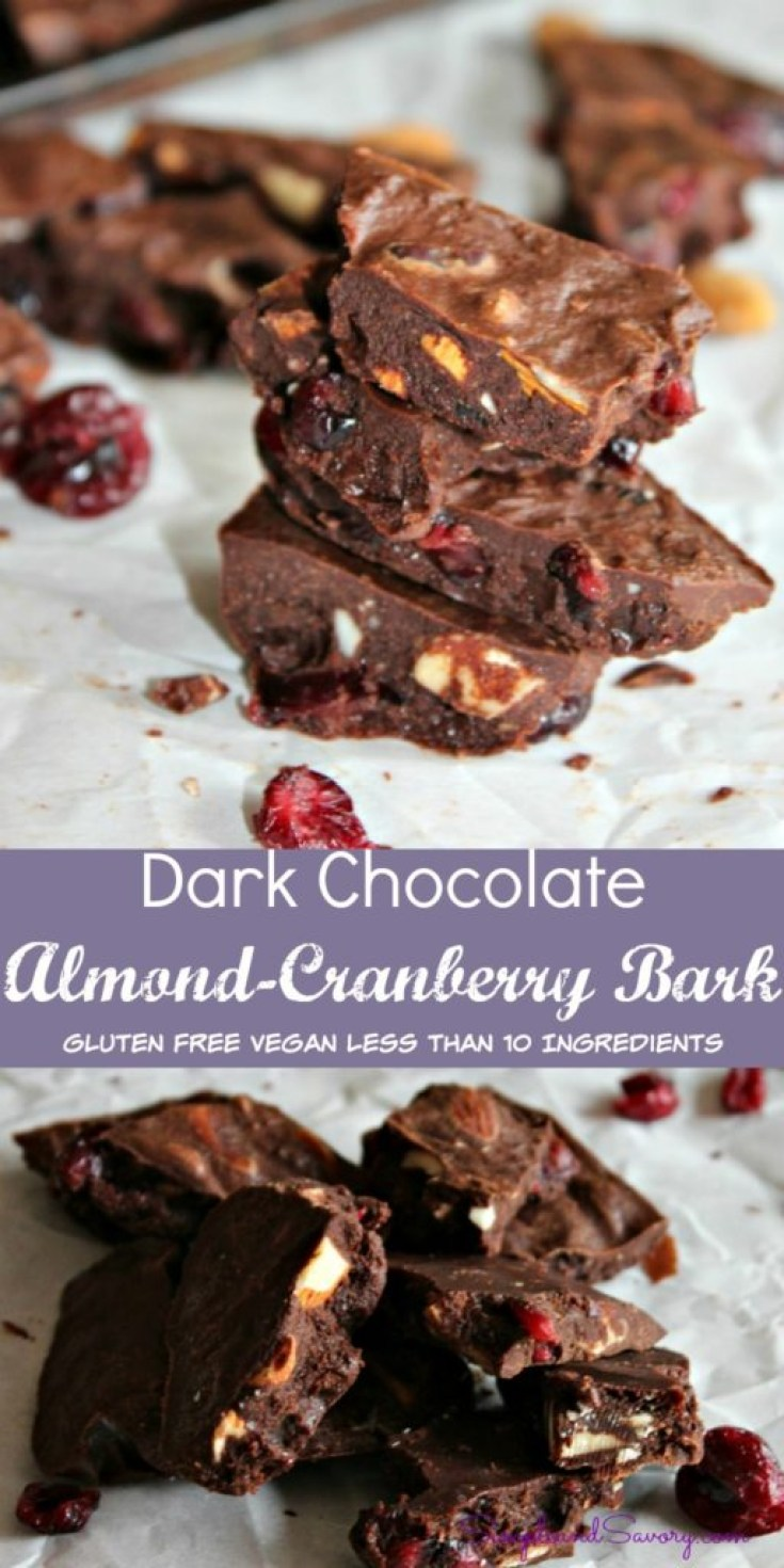 Dark Chocolate Almond Cranberry bites simpleandsavory.com
