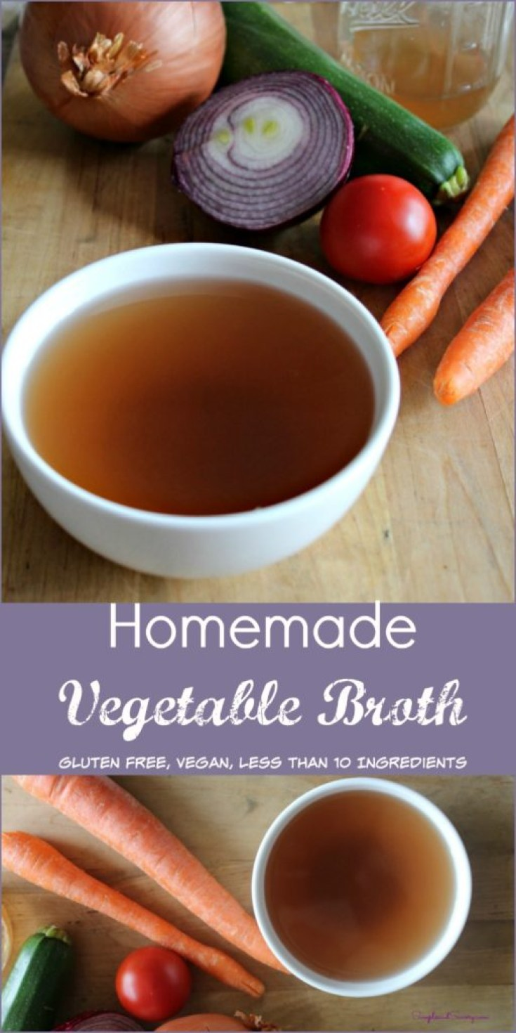 Homemade vegetable broth simpleandsavory.com vegan, gluten free, less than 10 simpleandsavory,com