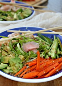 Sushi Bowls made with Shrimp and fresh vegetables gluten free simpleandsavory.com