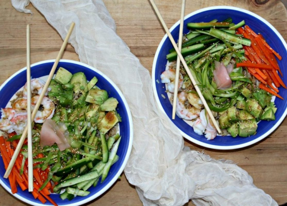 Sushi Bowls made with fresh vegetables and shrimp simpleandsavory.com