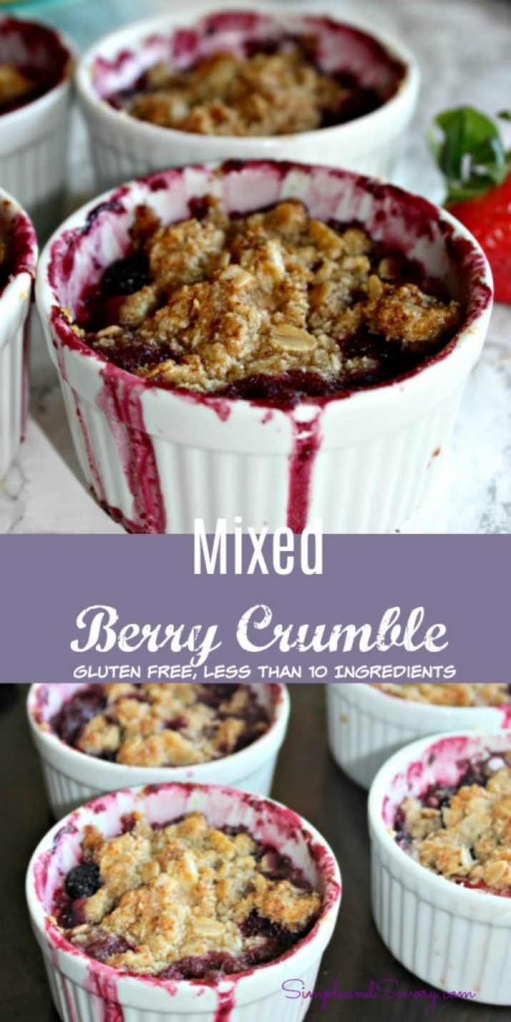 Mixed Berry Crumble gluten free less than 10 ingredients simpleandsavory.com