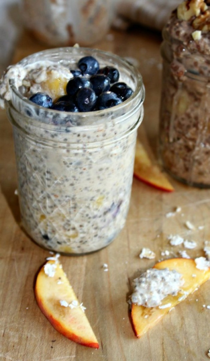 peach and blueberry overnight oats gluten free diary free simpleandsavory.com