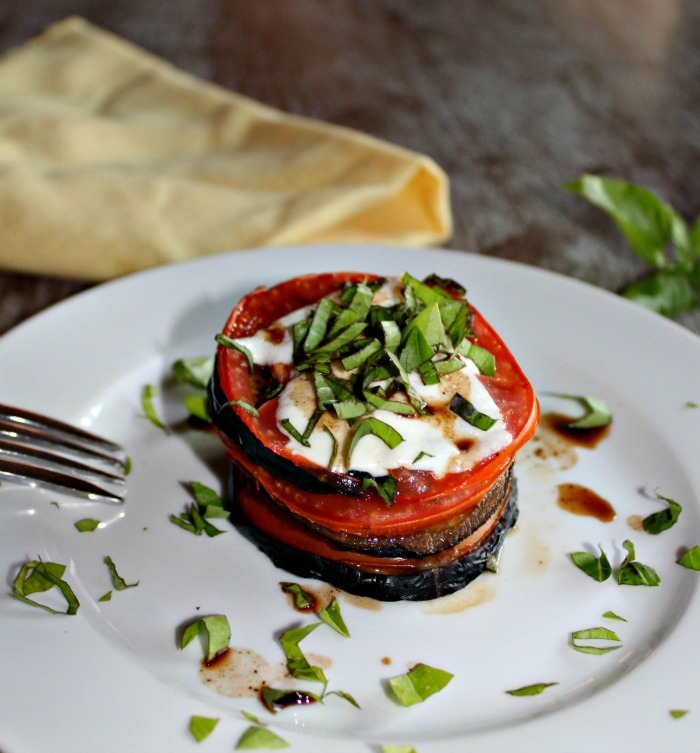 Grilled Caprese Eggplant stacks vegetarian