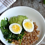Savory breakfast bowls with sauteed greens