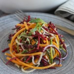 spiralized vegetable noodles on a plate