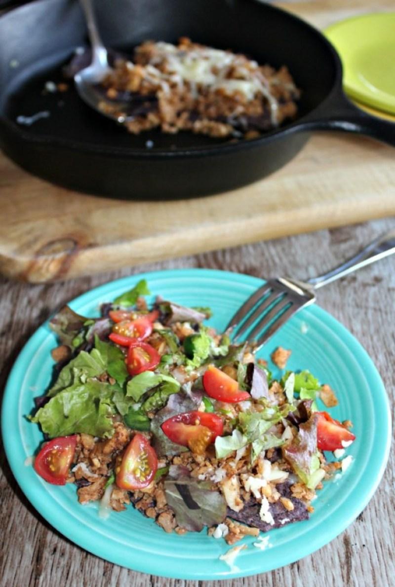 Vegetarian nachos made with cauliflower vegetarian and gluten free