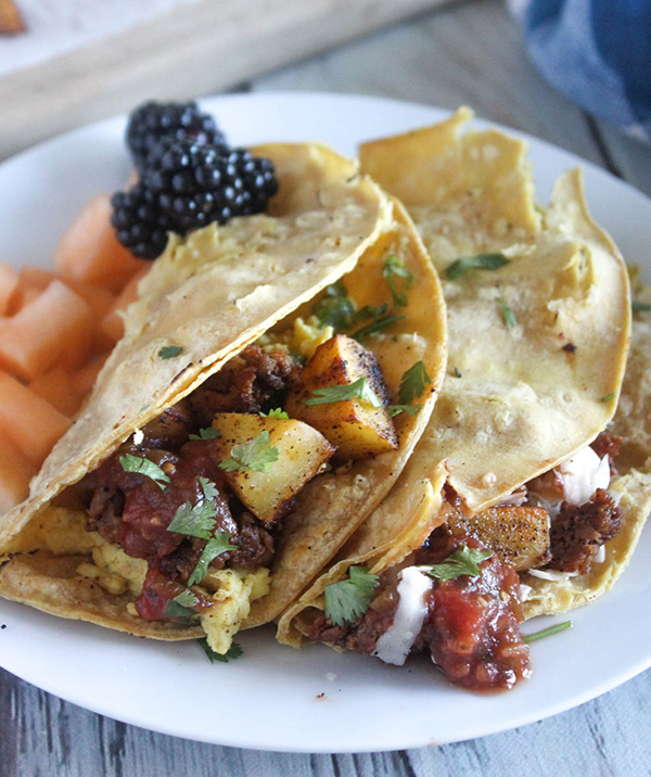 Texas Breakfast Tacos with Mexican Chorizo