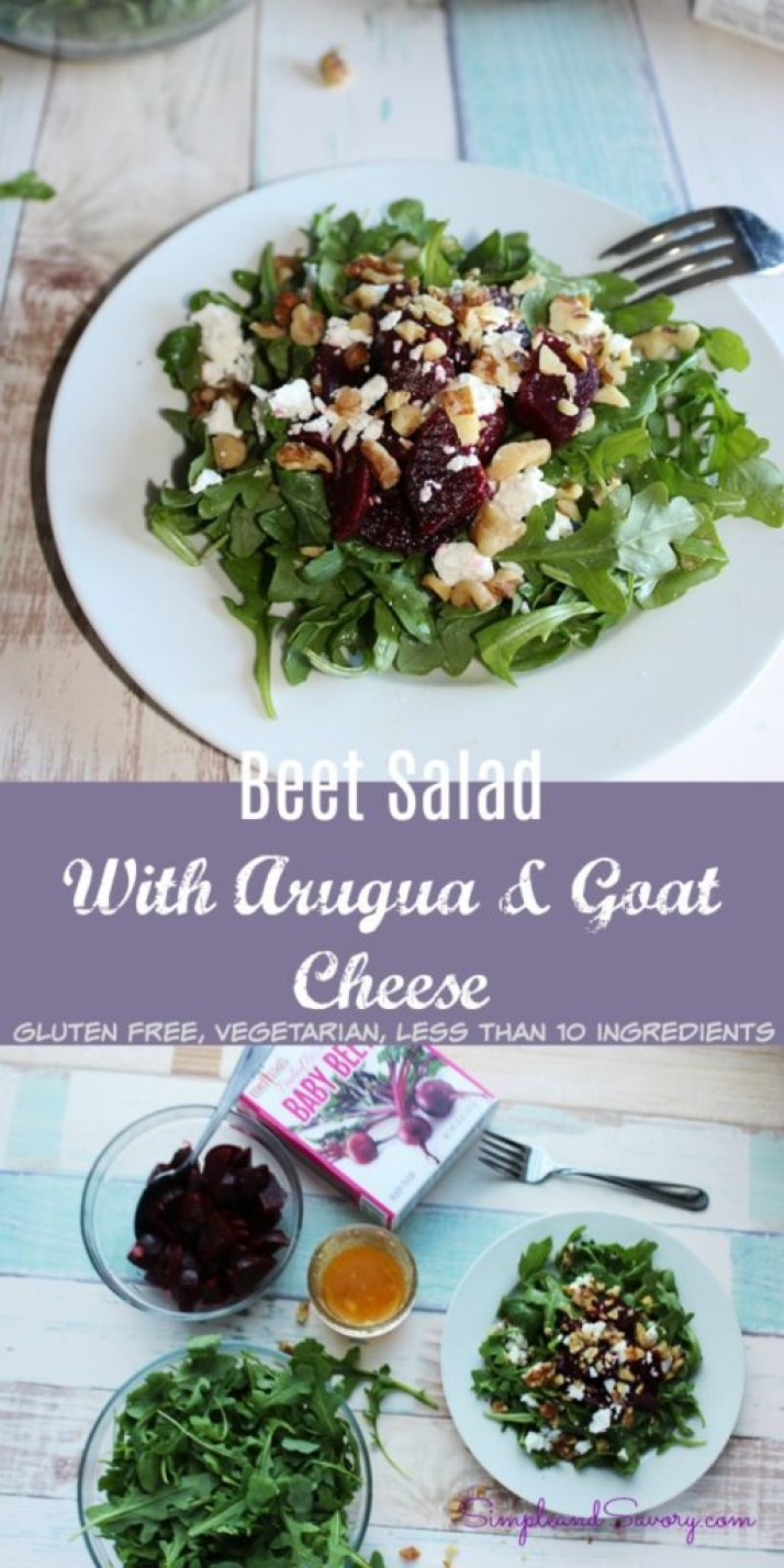 Beet Salad with arugula and goat cheese gluten free vegetarian