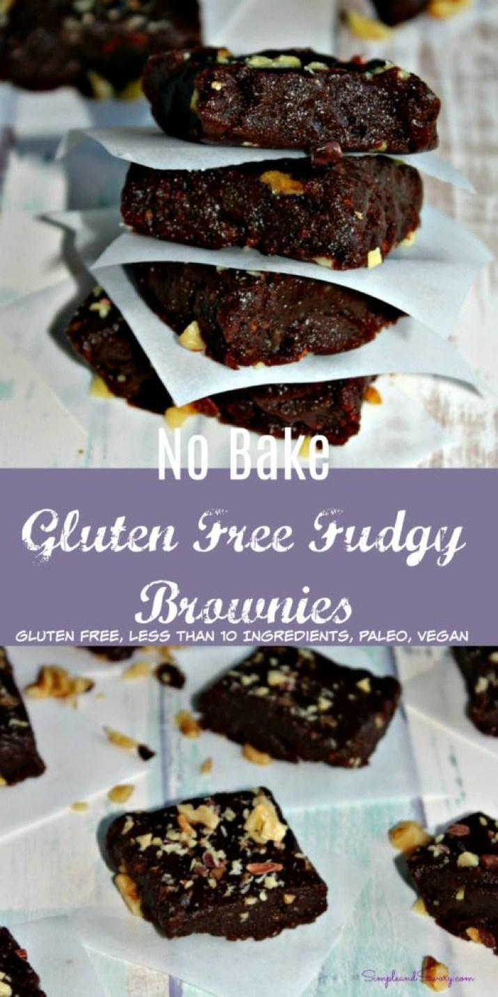No Bake Gluten Free Fudgy Brownies #SundaySupper