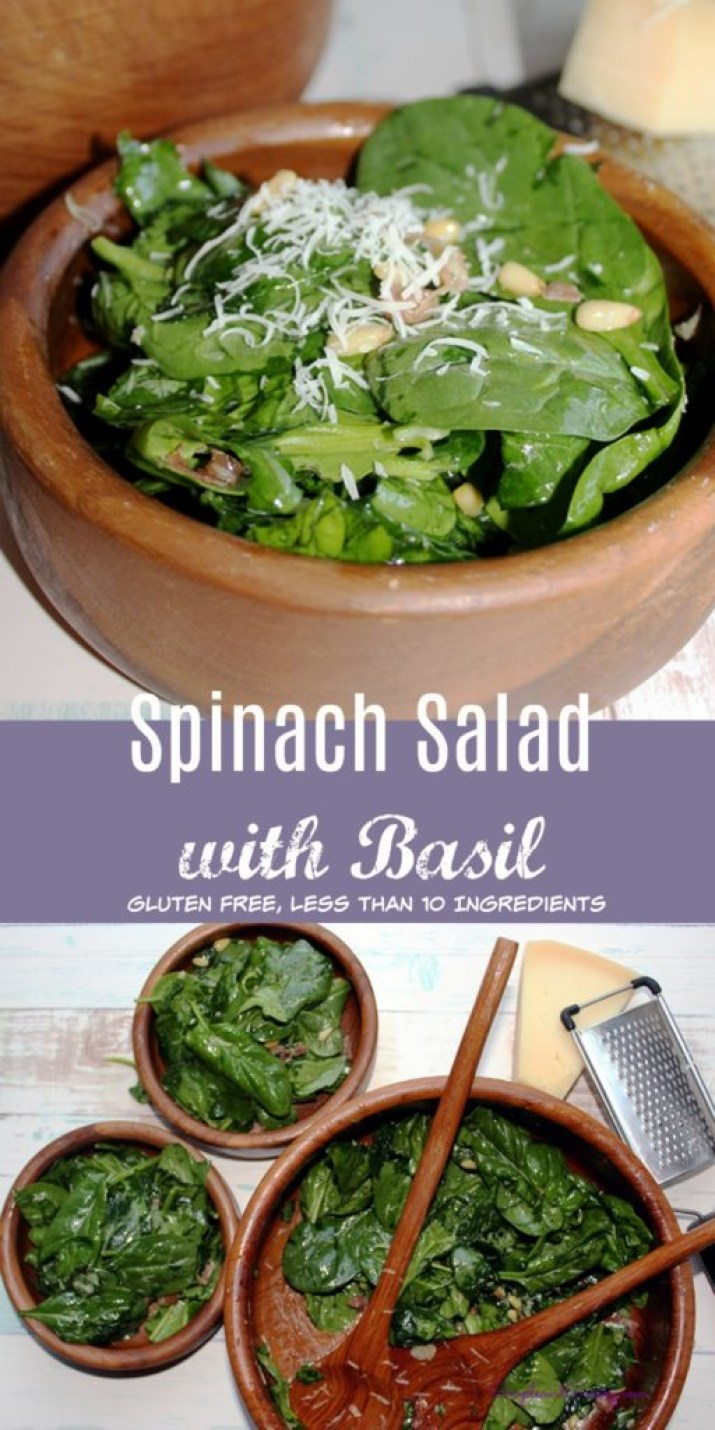 Spinach Salad with Basil proscuitto pine nuts and garlic