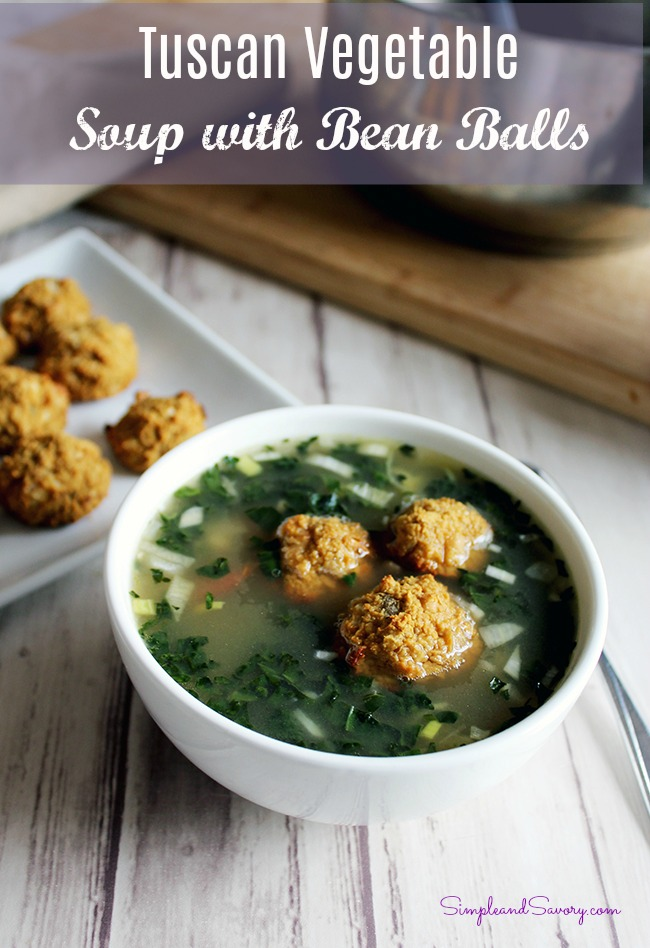 Tuscan vegetable soup with white bean balls vegan vegetarian