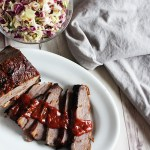 Barbecue beef brisket sliced with homemade barbecue sauce
