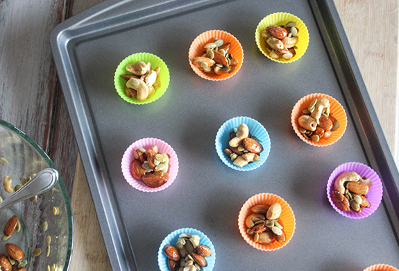 Clusters in cupcake liners on a baking sheet
