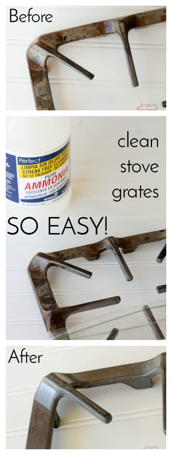 I will never clean my stove the hard way again! This is hands down the EASIEST way to clean stove grates. No more soaking and scrubbing for hours! via @nmburk