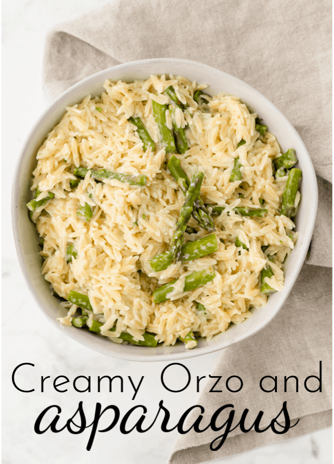 An easy side dish that comes together in minutes, Creamy Orzo and Asparagus is the perfect addition to dinner this spring! via @nmburk
