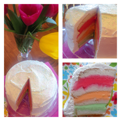 collage image of layered sherbet cake