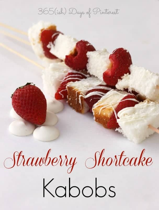 """Perfect for a bake sale, Valentine's Day party, tea party or """"just because,"""" these Strawberry Shortcake Kabobs are quick and easy to make!  via @nmburk"""