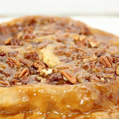 Turn regular old apple pie on its head with this sticky and delicious Upside Down Apple Pie! It's the perfect companion to pumpkin pie for Thanksgiving dinner.