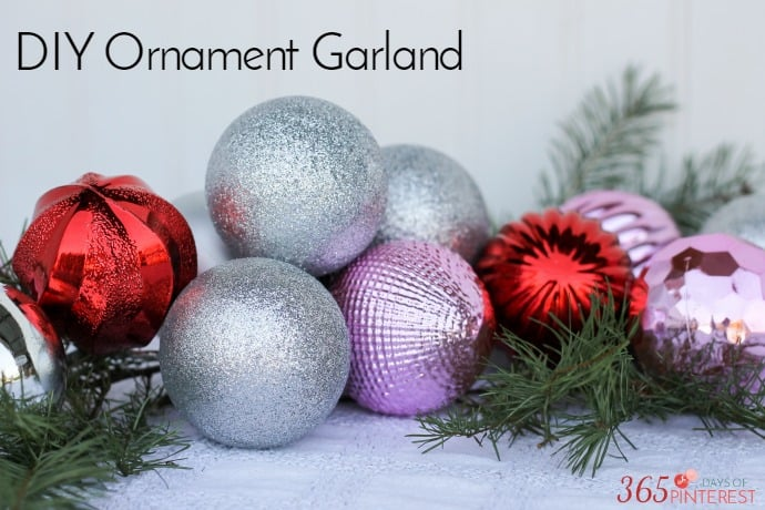 Grab some inexpensive ornaments and a little fresh greenery for a DIY Ornament Garland!