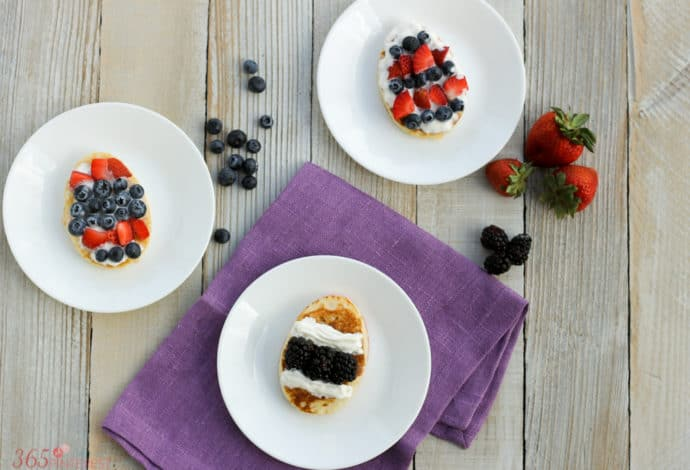 Looking for a last minute idea for Easter breakfast? Easter Egg Pancakes are easy to make and covered in fresh fruit!