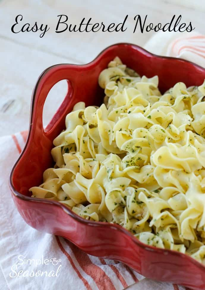 A perfect side dish when you're pressed for time, Easy Buttered Noodles come together in a snap and kids love them, too! via @nmburk
