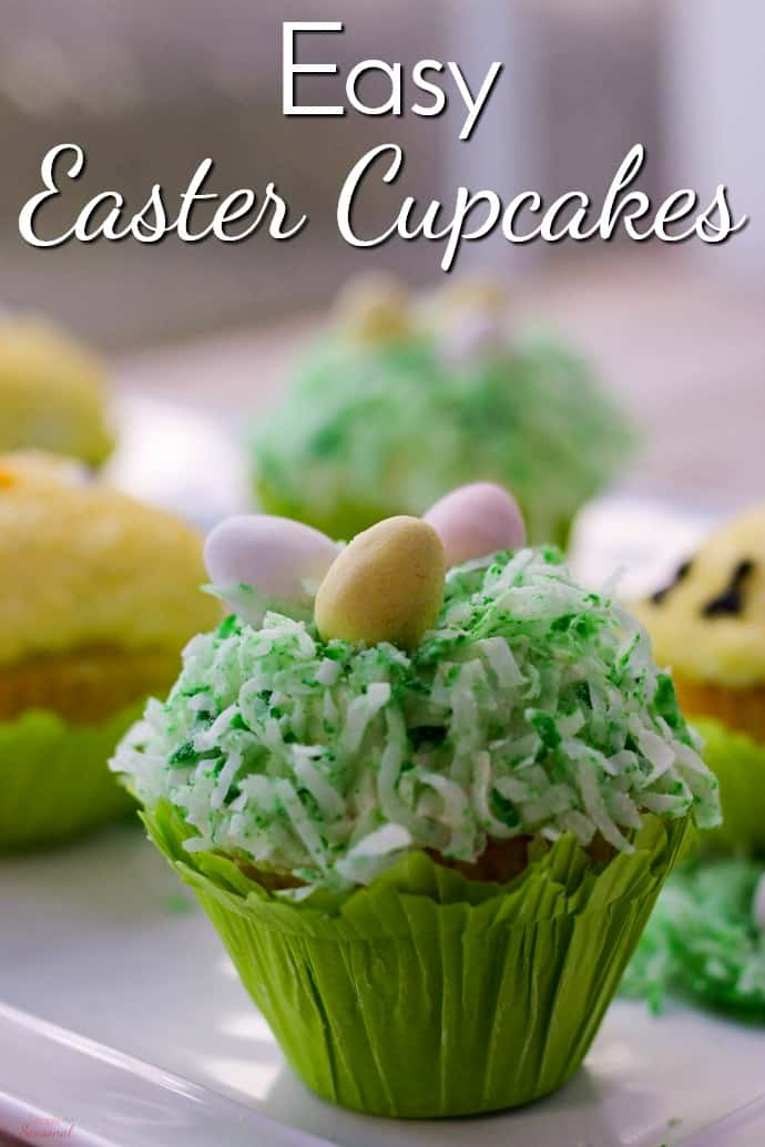 Looking for something to do with the kids over Spring Break? Make these Easy Easy Cupcakes and put some of that Easter candy to good use! Instructions on how to make small batch cupcakes included! #Easter #EasterDessert #Cupcakes via @nmburk