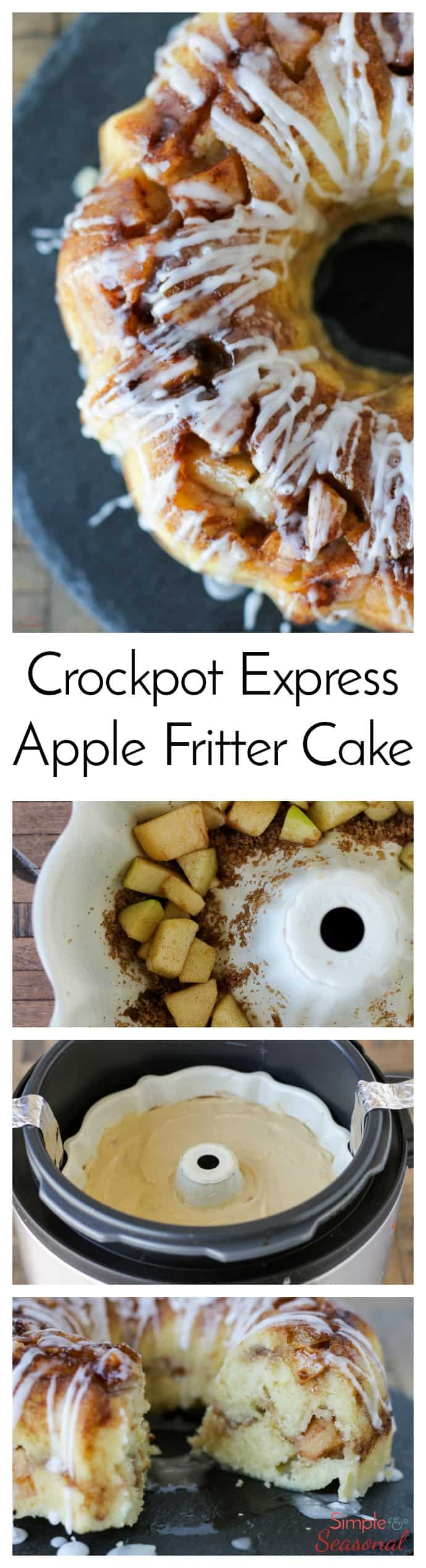 Chunks of tart apples, a sweet glaze and a brown sugar crackle on top make this Crockpot Express Apple Fritter Cake a delicious dessert that's ready in less than an hour (without heating up the kitchen!) #CPE #CrockpotExpress #PressureCooking #Dessert via @nmburk