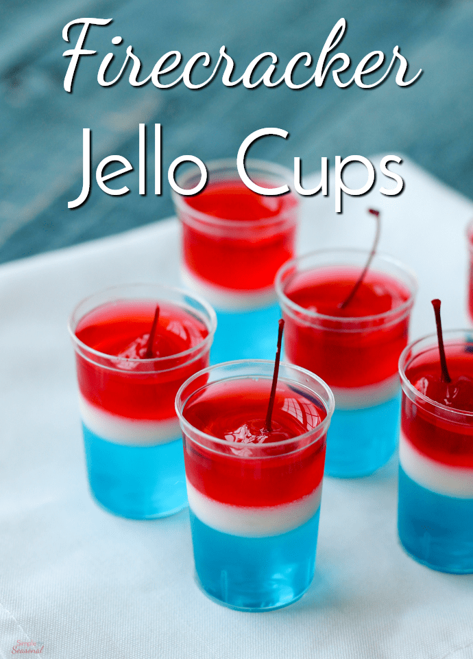 Perfect for 4th of July or Memorial Day celebrations, these Firecracker Jello Cups are a delicious pop of color on the party table!