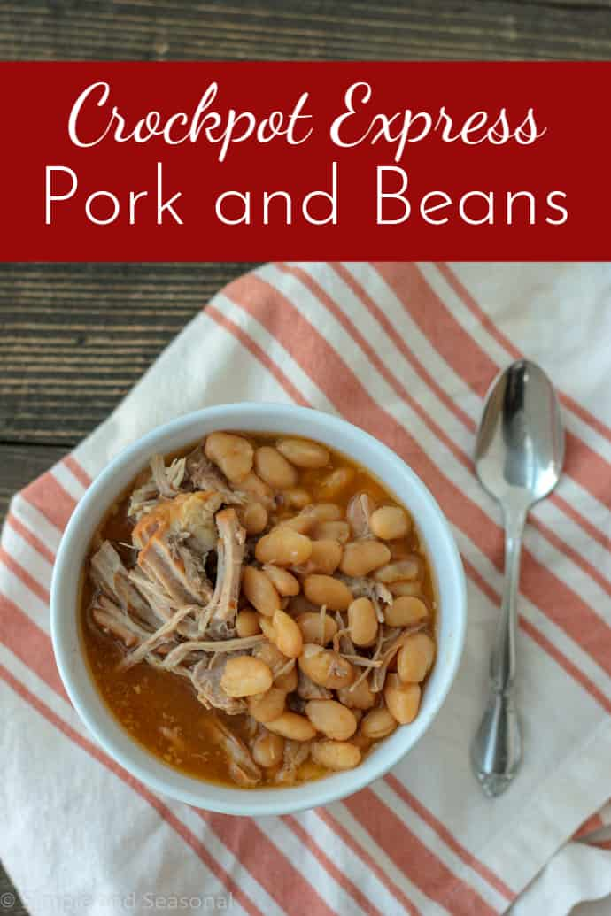 Crockpot Express Pork Roast and Beans is a classic comfort food that's also budget-friendly!#CrockpotExpress #pressurecookerrecipes #CPE via @nmburk