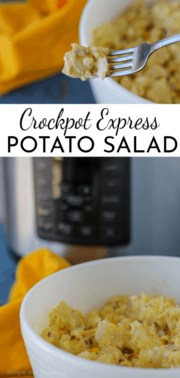 Packed with potatoes, hard boiled eggs and a creamy classic dressing, Crockpot Express Potato Salad is a great side dish for any occasion!  via @nmburk