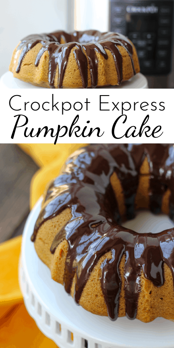 Bursting with pumpkin flavor and covered in a rich, shiny chocolate ganache, Crockpot Express Pumpkin Cake is the perfect fall dessert! via @nmburk