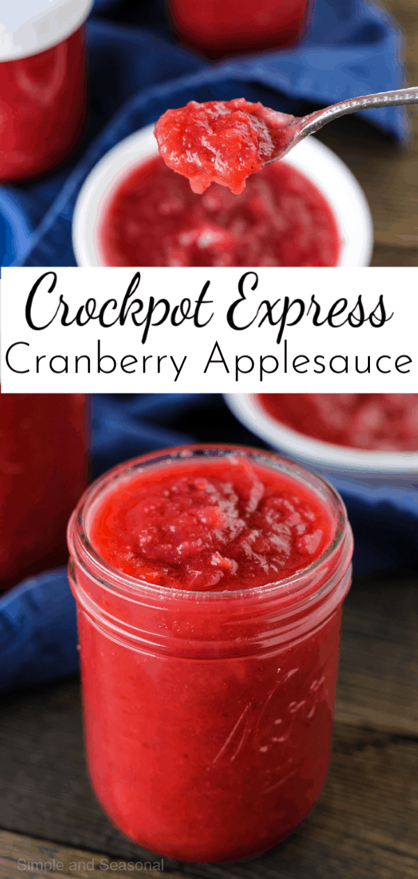 Tart and sweet, Crockpot Express Cranberry Applesauce is easy to make and a great alternative to traditional cranberry sauce. via @nmburk