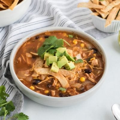 top down view of soup bowl and crispy tortillas strips