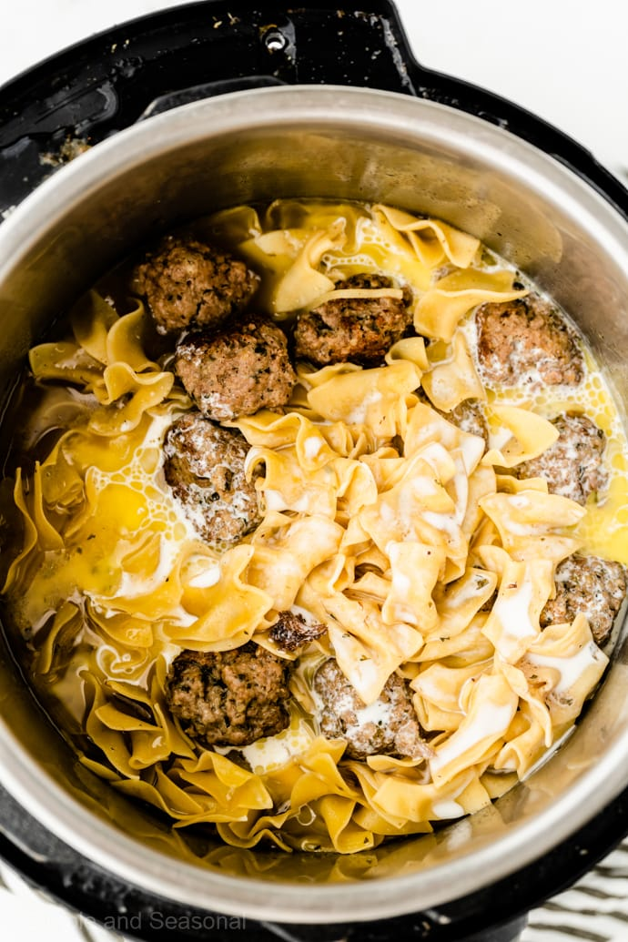 swedish meatballs in the pressure cooker pot with noodles