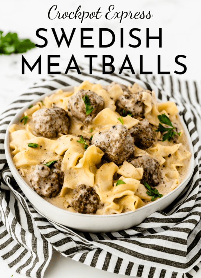 white serving bowl full of Crockpot Express Swedish Meatballs